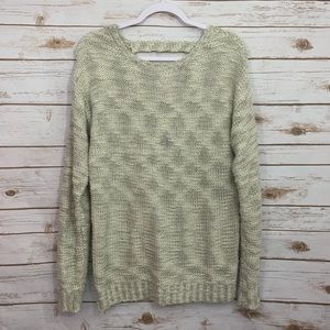 Anthro Paper Crane Chunky Knit Open Back Sweater